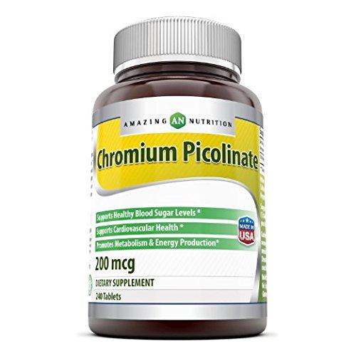 Increíble nutrición cromo picolinato 200 Mg 240 tabletas