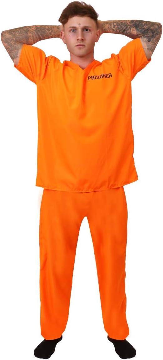 ILOVEFANCYDRESS Naranja Disfraz de Preso Convicto Incluido Esposas ...