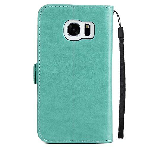 Custodia Galaxy S7 ISAKEN Cover Samsung Galaxy S7 con Strap, Elegante borsa Dente di leone Design in Pelle Sintetica Ecopelle PU Case Cover Protettiva Flip Portafoglio Case Cover Protezione Caso con S Girl: verde