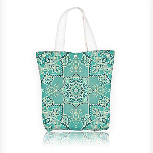 Stylish Canvas Zippered Tote Bag rabic Islamic Persian Ottoman Motifs Turkish Iranian Ethnic Artsy Mandala Style Shopping Travel Tote Bag W16.5xH14xD7 INCH by Jiahonghome
