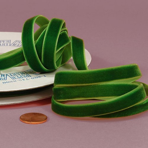(Emerald Green Velvet Ribbon, 3/8