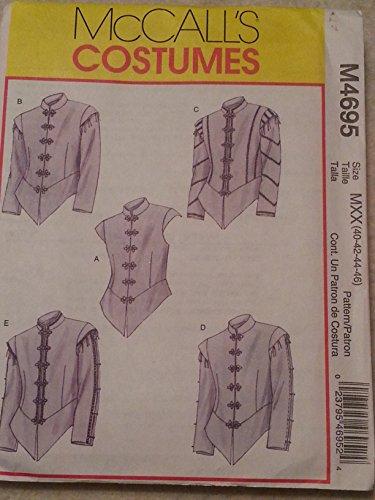 Shirt Renaissance Pattern (McCalls 4695 Mens Renaissance Doublets Costume Pattern Size 40-42-44-46)