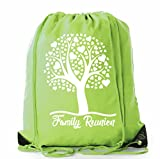 Family Reunion Gift Bags for Family Reunion Favors | Drawstring Bags - Mato & Hash - 10PK Lime CA2500FAM S5