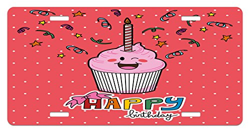 Birthday License Plate by Ambesonne, Pink Strawberry Flavor Cupcake with Candle Cute Face Confetti Bow Tie and Dots, High Gloss Aluminum Novelty Plate, 5.88 L X 11.88 W Inches, Multicolor (Interesting Cupcake Flavors)
