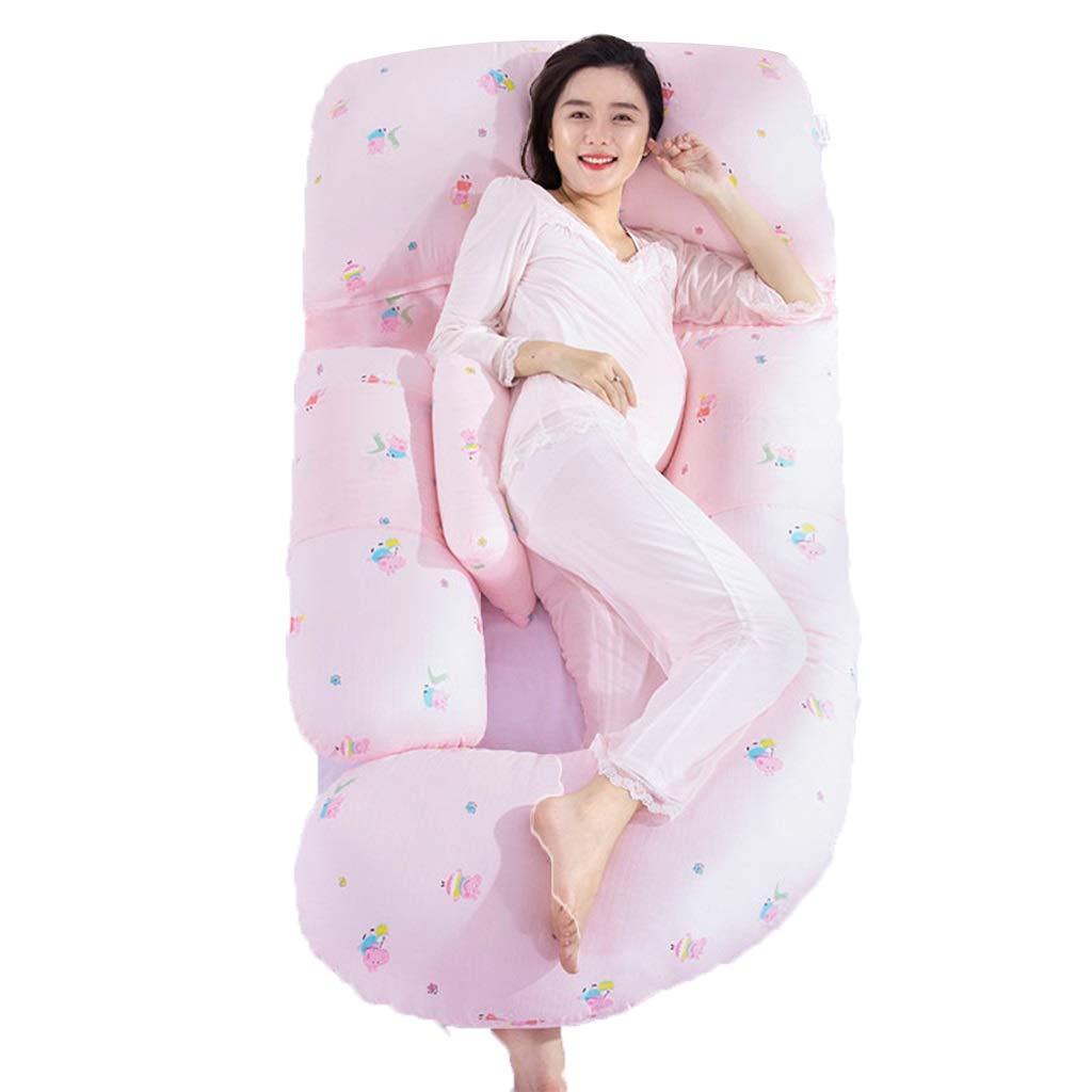 妊婦枕子供用フェンス腰側寝枕産後母乳枕U字型枕お腹サポート枕クッション寝具 (Color : Pink a) B07SBZ4564