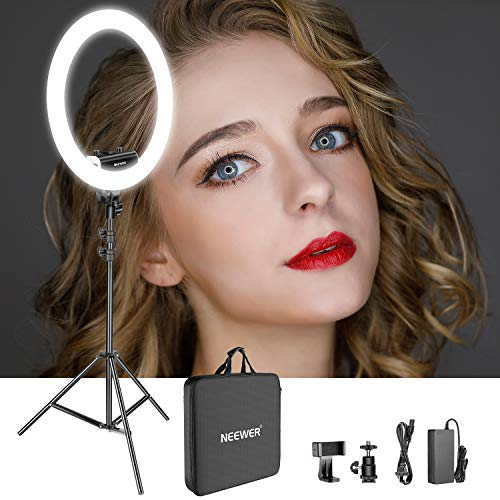 Ultra Video Slim - Neewer Ring Light Kit [Upgraded Version-1.8cm Ultra Slim] - 18 inches, 3200-5600K, Dimmable LED Ring Light with Light Stand, Rotatable Phone Holder, Hot Shoe Adapter for Portrait Makeup Video Shooting