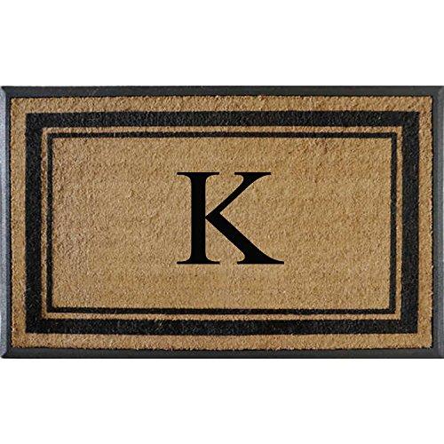 (First Impressions Markham Border Double Door, Doormat, Monogrammed K, X-Large )