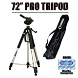 Professional PRO 72-inch Super Strong Tripod With Deluxe Soft Carrying Case For The Canon VIXIA HF S10, HF S100, HF200, HF20, HF11, HF100, HF10, HG21, HG20 Flash Memory Camcorders