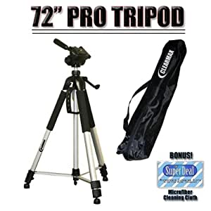 """Professional PRO 72"""" Super Strong Tripod With Deluxe Soft Carrying Case For The Sony DCR-SR42, SR45, SR46, SR47, SR62, SR65, SR67, SR82, SR85, SR87, SR200, SR220, SR300, SX40, SX41, SX60 Camcorders"""