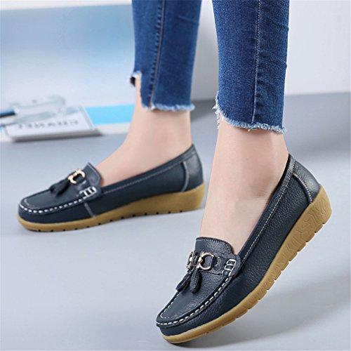 negro Zapatos Casual Footware de Mujer Mocasines Otoño Señoras Primavera cuero Mocasines Zapatos Zapatos Bridfa Negro mujer genuino cuero de de AwOqcxdCTF