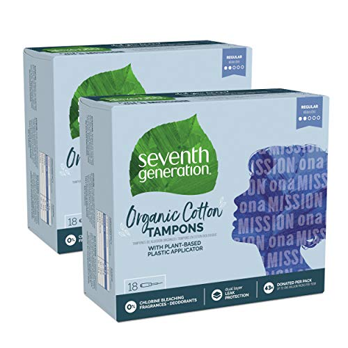 Seventh Generation Tampons with Comfort Applicator, Organic Cotton, Regular Absorbency, 18 Count, 2 Pack (Packaging May Vary)
