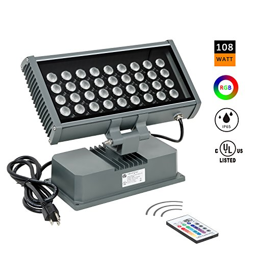 H-TEK 108W RGBW LED Wall Washer Light with RF Remote Controller, Color Changing LED Fixture for Outdoor and Indoor Lighting Projects Hotels, Resorts, Casinos, Billboards, Building Decorations, Parties (Led Outside Wall Washer)