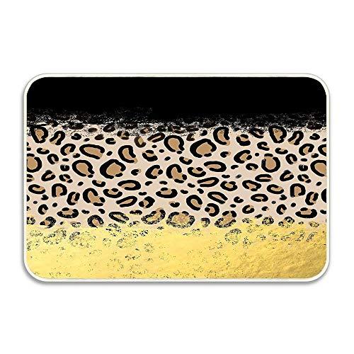 (Wilder Black Gold Foil Cheetah Print Animal Pattern Spots Dots Bold Modern Design Sparkle Door mat 16x24Outdoor Indoor Entrance Doormat Waterproof Easy Clean entryway Rug Front Doormat Non Slip)
