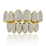 JINAO 18k Gold Plated All Iced Out Luxury Rhinestone Gold Grillz set with EXTRA Molding Bars Included (Classic set)