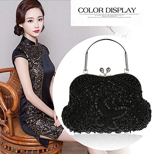 Style L�� Party Bag Beaded Clutch Black Handbag Vestmon Sequined Vintage Evening Purse Women's Wedding qttzr