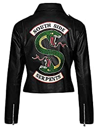 Classic Outfitters Womens Southside Black Faux Leather Jacket Snake Logo