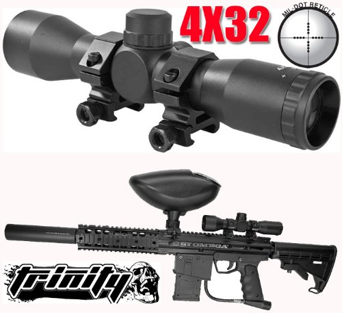 Trinity Paintball 4x32 Compact Scope for Bt Omega Paintball Gun,paintball Scope,paintball Sight,paintball Mil-dot Scope.bt Omega Paintball Gun Scope.bt Omega Paintball Gun Sight, Trinity Paintball Tactical Scope for Paintball Guns 4x32, fast shipping. by Trinity