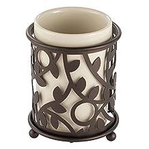 InterDesign Vine Tumbler Cup for Bathroom Vanity Countertops - Vanilla/Bronze