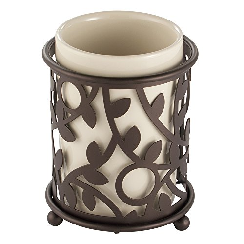 Elements Of Design Toothbrush - InterDesign Vine Tumbler Cup for Bathroom Vanity Countertops - Vanilla/Bronze