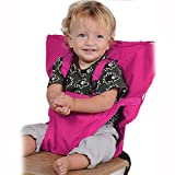 Synthiiz Portable BabyStrap Seat Belt Baby Dining Chair Safety Seats Tool, Toddler Safety Harness,Shopping Cart Safety Strap, Great for High Chair/Travel/Home (Pink(Large size))