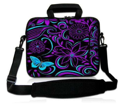 """Purple Flower 15"""" Laptop Shoulder Bag Carry Case w/Pocket..."""