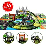 Dinosaur Toys Race Track with a Dinosaur Playmat - 142 Pcs Flexible Tracks Playset,2 Dinosaurs and Multiple Elements for 3,4,5,6 Year Old Boys and Girls