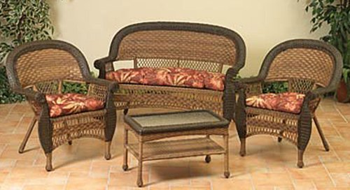 4-Piece Two-Tone Brown Resin Wicker Patio Set - Table, Loveseat and Chairs