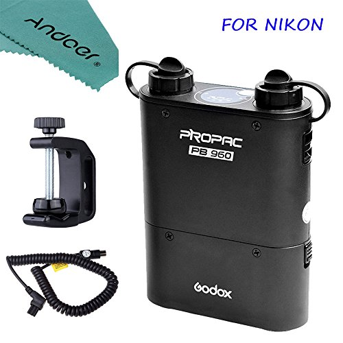 Andoer Godox PROPAC PB960 Kit for Nikon Including Dual-Output Speedlite Power Battery Pack 4500mAh + Godox CX Power Cable + Godox Q-type Multifunctional Clip with Andoer Cleaning Cloth by Andoer