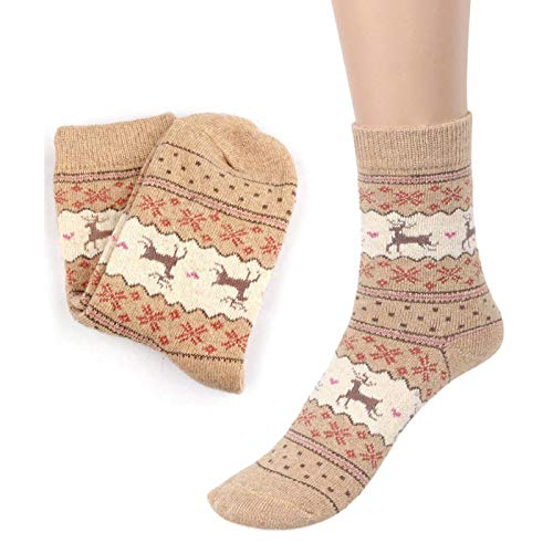 STORTO Women Clearance Christmas Reindeer Socks Casual Cotton Socks