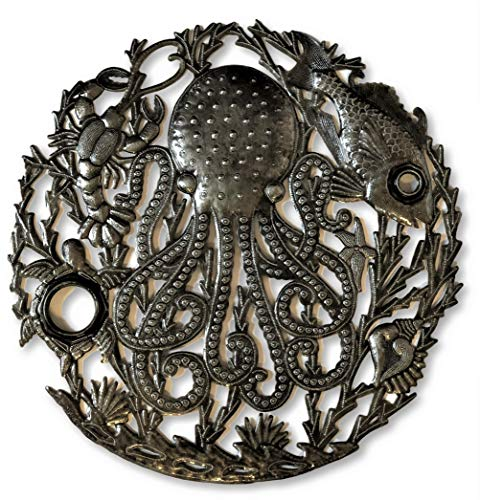 - Handcrafted Octopus Sea Wall Decor Fair Trade from Haiti, Recycled Metal Art, Decorative Hanging Art, 24 in. X 24 in. (Ocean Reef)