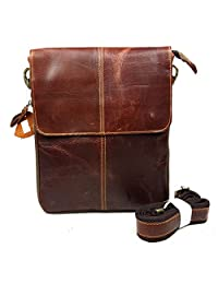 SUNVP Cowhide Leather Cross Body Purse Casual Satchel Shoulder Messenger Bag for Men and Women, Date Red