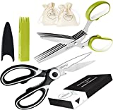 Chefast Heavy Duty Kitchen Shears and Herb Scissors Set: Combo Kit of Stainless Steel Food Scissors, 5-Blade Herb Cutter, and Two Jute Bags - Great for Meat, Poultry, Garden, Cooking, Crafts, and More