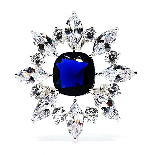 Marquise Vintage Brooch - Dreamlandsales Vintage Marquise Floral Surrounded Centered Square Royal Blue Burst Star Brooch