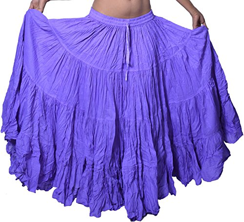 Wevez Women's Gypsy 25 Yard Solid Color Cotton Skirt (Lilac)