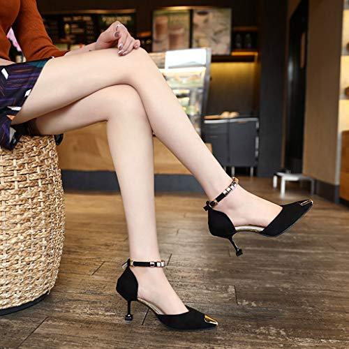 Femmes Simple Fille Peep Sexy Vintage Chaussures Femmes Mode Élégante Ihengh Hauts 2019 Sandales Casual Femmes Romaine D'été Noir À Chaussures Boucle Dame Femmes Talons Toe Plates Nouveau ggznAWOR