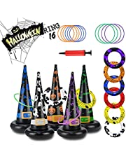 Halloween Toys Games Inflatable Witch Hat Ring Toss Set, Throwing Hat Ring Halloween Party Scoring Games School Carnival Obstacle Toys with Pump, Holiday Indoor Outdoor Family Favor Supplies for Kids