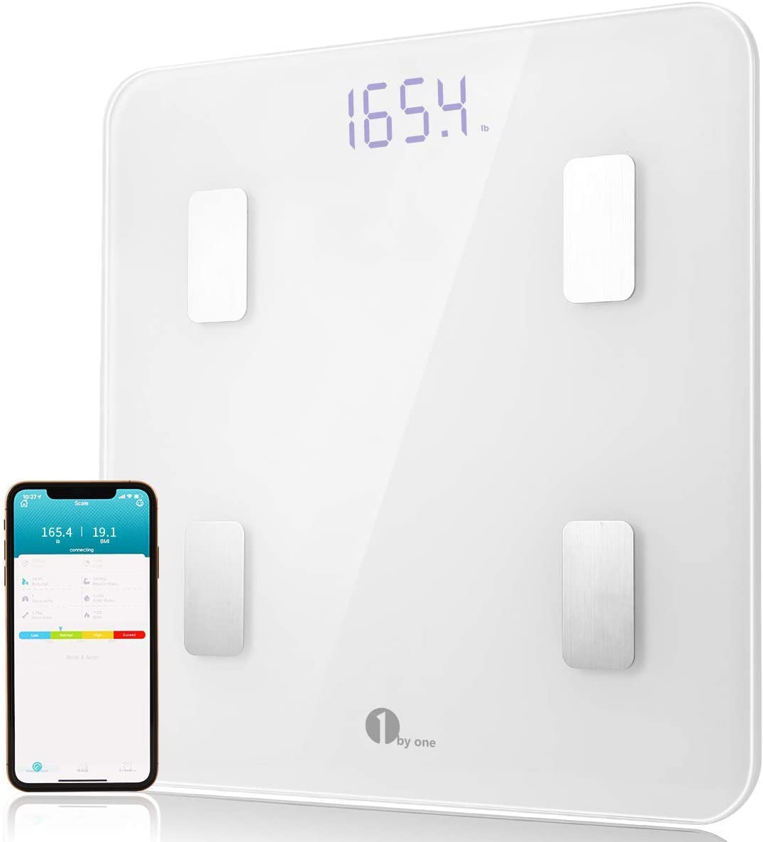 1byone Smart Body Fat Scale Body Composition Analyzer, Bathroom Digital Weight Scale with Smartphone App, Sync Data with Apple Health, Google Fit Fitbit APP – White