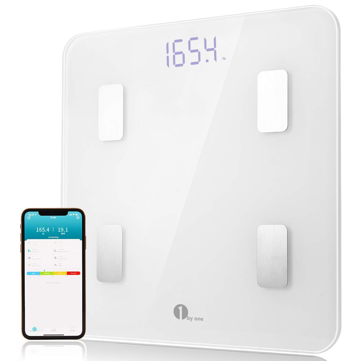 1byone Smart Body Fat Scale Body Composition Analyzer, Bathroom Digital Weight Scale with Smartphone App, Sync Data with Apple Health, Google Fit & Fitbit APP - White by 1 BY ONE