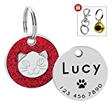Beirui Personalized Engrave Pet ID Tags with Bell - Stainless Steel Cat Face Print Dog Cat Tags - Sparkly Rhinestone Pet Tags for Small Medium Large Cats