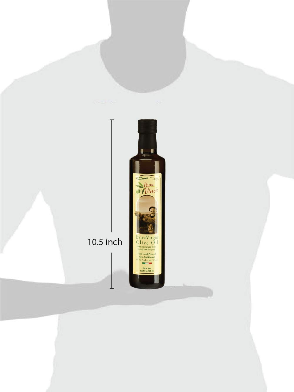 Papa Vince Olive Oil Gift - Extra Virgin First Cold Pressed from our family in Sicily, Italy, Unblended, Unfiltered, Unrefined, Robust, Rich in Antioxidant   Burlap bag   16.9 fl oz by Papa Vince (Image #4)
