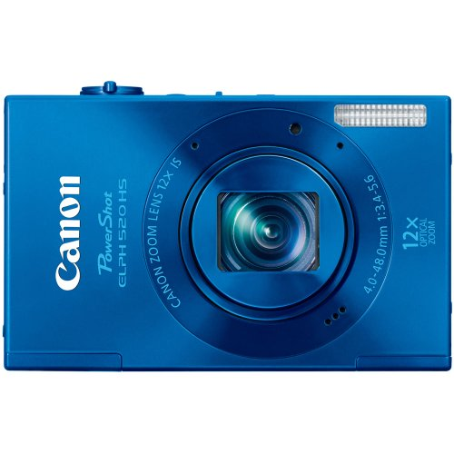 Canon PowerShot ELPH 520 HS 10.1 MP CMOS Digital Camera with 12x Optical Image Stabilized Zoom 28mm Wide-Angle Lens and 1080p Full HD Video Recording (Bllue) For Sale