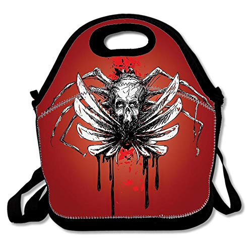 Dead Skull with Wings and Blood Evil Spider Skeleton Horror Themed Artsy Image Waterproof Reusable Lunch Bags For Men Women Adults Kids Toddler Nurses With Adjustable Shoulder Strap for $<!--$9.99-->