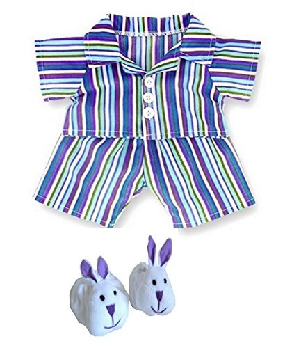Blue Purple Stripe PJ's & Slippers Teddy Bear Clothes fit Build a Bear factory Teddies by Build your Bears Wardrobe