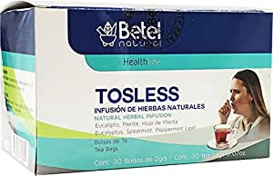 Tosless Tea - All Natural Aid for Cold and Cough - 30 Tea Bags - Betel Natural