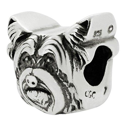 Zable Sterling Silver Yorkie Dog Bead Charm (12 X 11 -