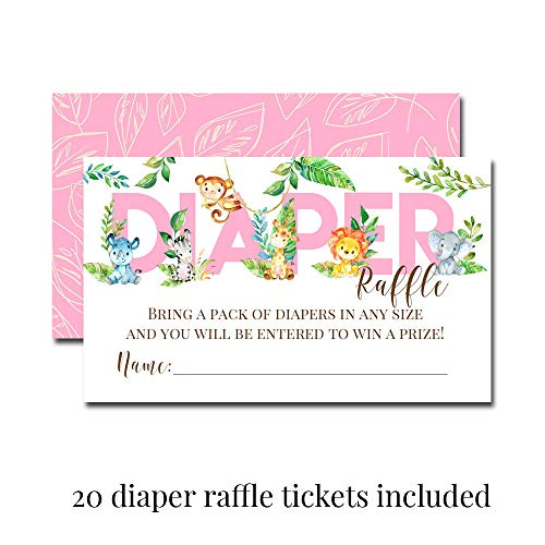 """Deluxe Watercolor Jungle Animals Baby Shower Party Bundle for Girls, Includes 20 each of 5''x7'' Fill In Invitations, Diaper Raffle Tickets, Bring a Book Cards & 2"""" Thank You Favor Stickers w/ Envelopes by Amanda Creation (Image #3)"""