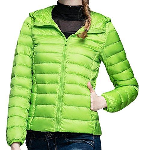 Donna Elegante Giacca Cappuccio Giacche Lunga Yeesea Piumino Giubbotto Moda Manica Verde Autunno Invernale Calda Cappotto Slim Con dqH1tx