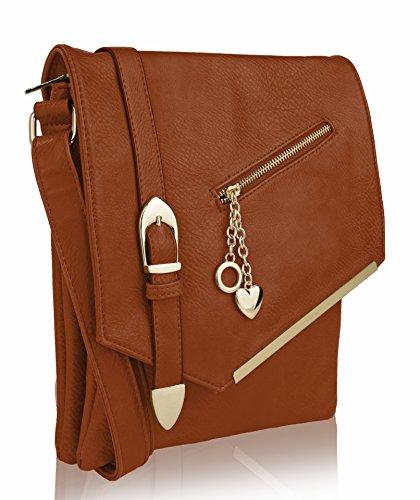 MKF Crossbody Bag for Women - Adjustable Strap - Vegan Leather Tote Shoulder Handbag - Messenger Purse Cognac Brown ()
