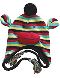 Choose from 22 Designs! - Winter Knit Adult Fleece Lined Animal Face Hats with Ear Flaps & Poms