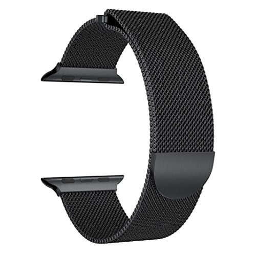 Price comparison product image Alonea Milanese Stainless Steel Magnetic Watch Band For Apple Watch Series 3 38MM / 42MM (38MM,  Black)